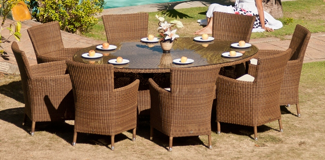 Alexander Rose San Marino 8 Seater Oval Garden Furniture Set with Square Armchairs