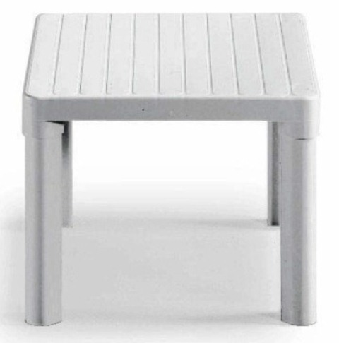 Resin Tip Square Garden Coffee Table in White