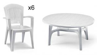 Resin 6 Seater Oval Super Elegant/Ovolone Garden Furniture Set in White