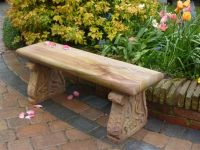Colwall Rainbow Sandstone Bench with Carved Legs