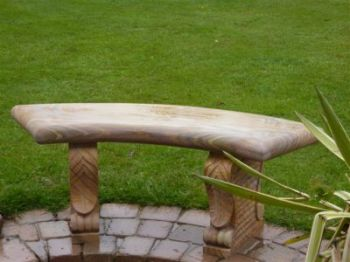 Bodmin Rainbow Sandstone Curved Bench with Carved Legs
