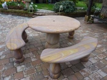 Rainbow Sandstone 4 Piece Round Patio Set