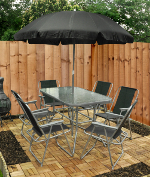 6 Seater Garden Furniture Set with Parasol