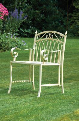 Versailles Folding Steel Garden Armchair - Antique Cream