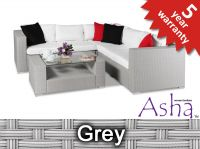 "5 Seater Rattan Weave Garden Sofa Set - Asha™ ""Amersham"" (Grey)"