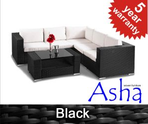 "5 Seater Rattan Weave Garden Sofa Set - Asha™ ""Amersham"" (Black)"
