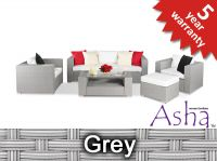 "5 Seater Rattan Weave Garden Sofa Set - Asha™ ""Banbury"" with Footstool (Grey)"