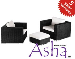 Pair of Single Garden Sofa Chairs with Ottoman in Black  Rattan Weave by Asha™