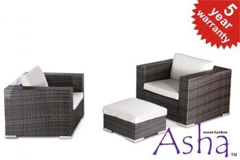 Pair of Single Garden Sofa Chairs with Ottoman in Brown Rattan Weave by Asha™