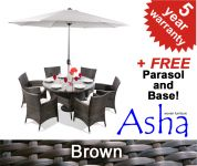 "6 Seater Rattan Weave Garden Dining Set (Mixed Brown) - Asha� ""Chesham"" With Parasol"