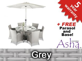 "6 Seater Rattan Weave Garden Furniture Set (Grey) - Asha™ ""Chesham"" with Parasol"