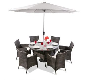 "6 Seater Rattan Weave Garden Dining Set (Mixed Brown) - Asha™ ""Chesham"" With Parasol"