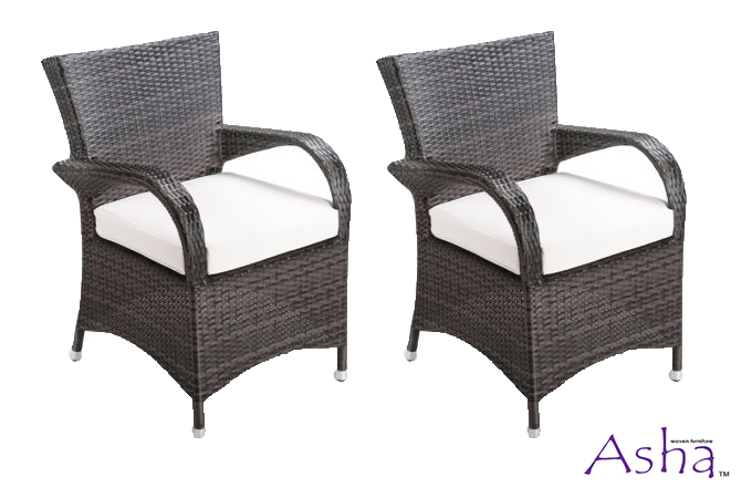 "Asha™ ""Winslow"" Rattan Weave Dining Chairs - Set of 2 (mixed browns)"