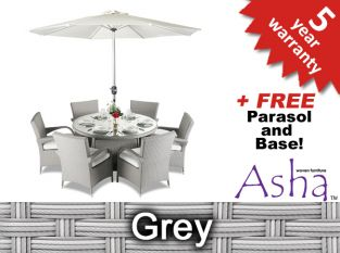 "6 Seater Rattan Weave Garden Dining Set (Grey) - Asha™ ""Winslow"" With Parasol"