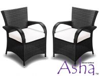 Pack of 2 Stackable Black Rattan Weave Garden Chair By Asha™
