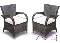 Pair of Brown Rattan Weave Stackable Garden Chairs by Asha�