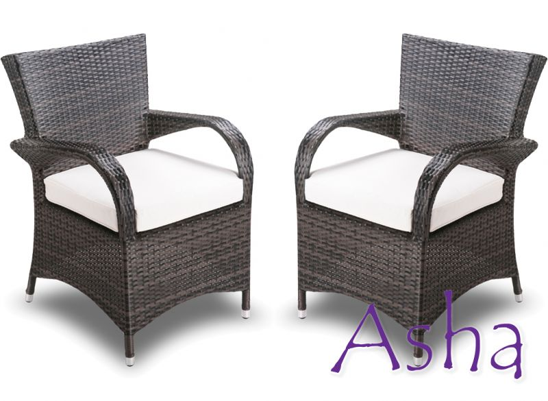 Pair of Brown Rattan Weave Stackable Garden Chairs by Asha™