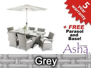 "6 Seater Rattan Weave Garden Dining Set (Grey) - Asha™ ""Hexham"" With Parasol"
