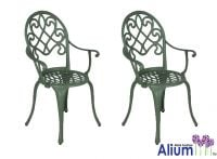 "Alium™ ""Garfield"" Cast Aluminium Armchairs - Set of 2 in Forest Green"