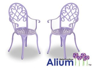 Alium™ Pair of Cast Aluminium Lilac Garden Chairs 'Garfield'