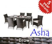 "6 Seater Rattan Weave Garden Dining Set (Mixed Brown) - Asha� ""Sherborne"""