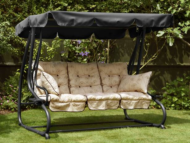 Nancy Deluxe 3 Seater Sofa Bed Hammock with Canopy in Black - H1.6m x W2m