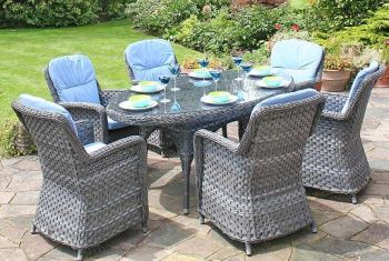 Bridgman 180cm Oval Table with 6  Armchairs
