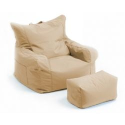 Gaming Beanbag Arm Chair with Matching Foot Stool in Stone