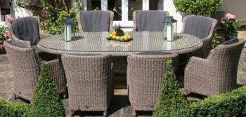 Bridgman 270cm Oval Table with 8 Armchairs