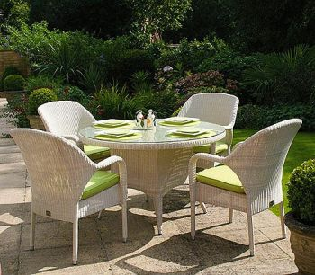Bridgman 120 Round Table with 4 Stackable Armchairs