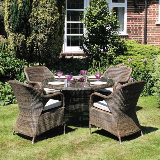 Bridgman 120cm Round Table with 4  Armchairs