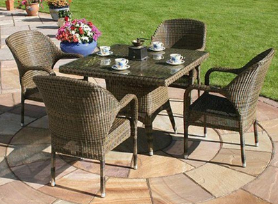 Bridgman 100cm Dining Table with 4 Stackable Armchairs