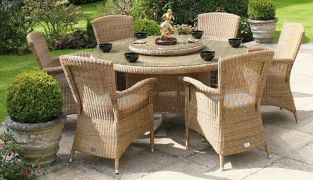 Bridgman 150 Round Table with Lazy Susan & 6 Armchairs