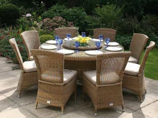 Bridgman 150  Round Table with Lazy Susan & 8 Chairs
