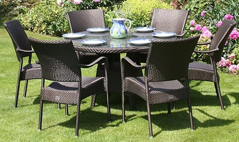 Bridgman 122cm Round Table & 6 Stackable Armchairs