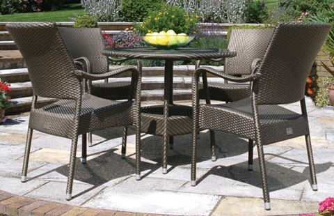 Bridgman 90cm  Round Table & 4 Stackable Armchair