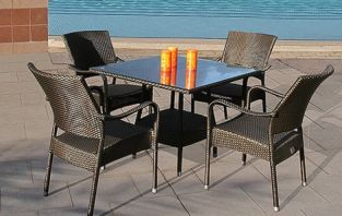 Bridgman 90cm Square Table & 4 Stackable Armchairs Bronze Weave