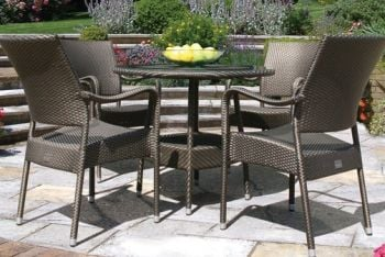 Bridgman 90cm  Round Table with 4 Stackable Armchairs