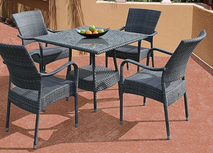 Bridgman 90cm Square Table with 4 Stackable Armchairs Grey Weave