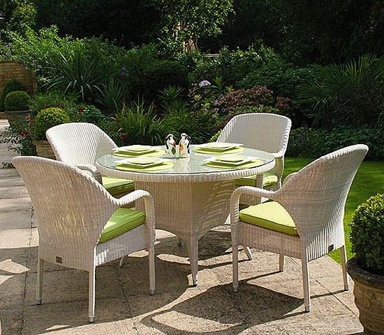 Sussex 120cm Round Table with 4 Sussex Stackable Armchairs - Soft White