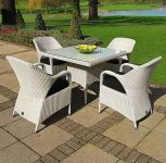 Sussex 100cm Square Table and 4 Sussex Dining Armchairs - Soft White
