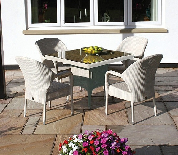 Sussex 100cm Square Table and 4 Sussex Stackable Armchairs - Soft White