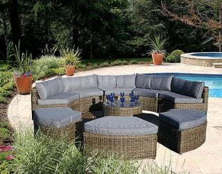 Curved Modular Rattan Garden Furniture Set - 9 Piece