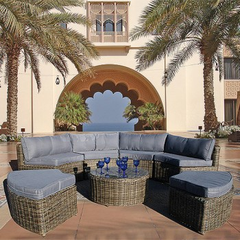 Curved Modular Rattan Garden Furniture Set - 7 Piece