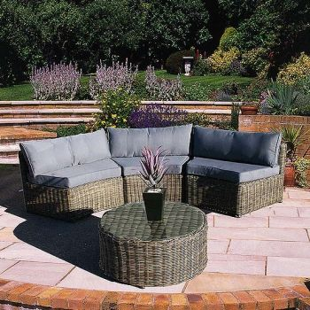 Curved Modular Rattan Garden Furniture Set - 4 Piece