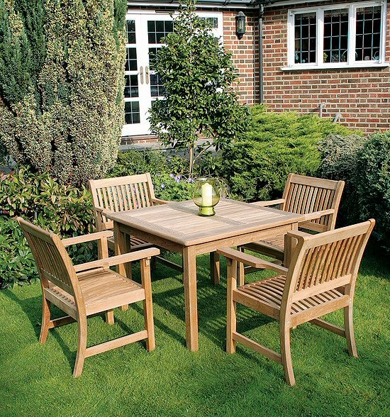 Square Table - 100cm & 4 Club Armchairs