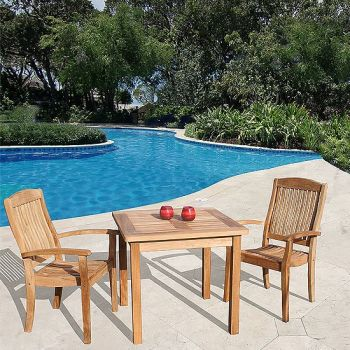 Square Table - 80cm & 2 Club Stacking Armchairs