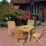Square Table - 80cm & 4 Club Folding Chairs