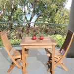 Square Table - 80cm & 2 Club Folding Chairs