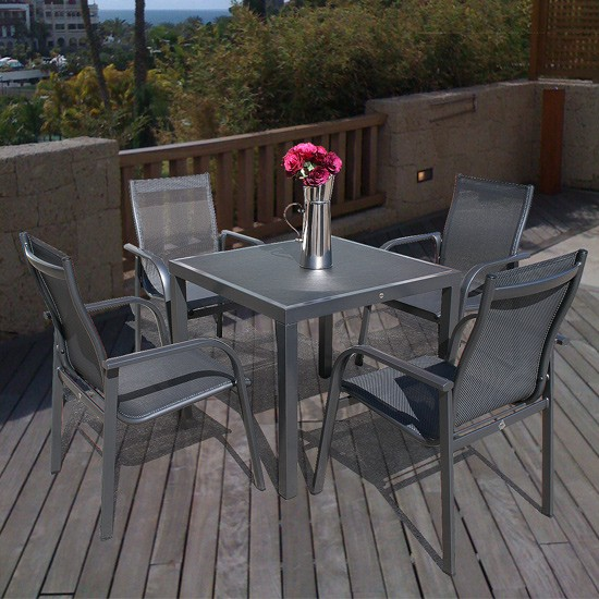 Capri 85cm Square Table & 4 Capri Stacking Armchairs